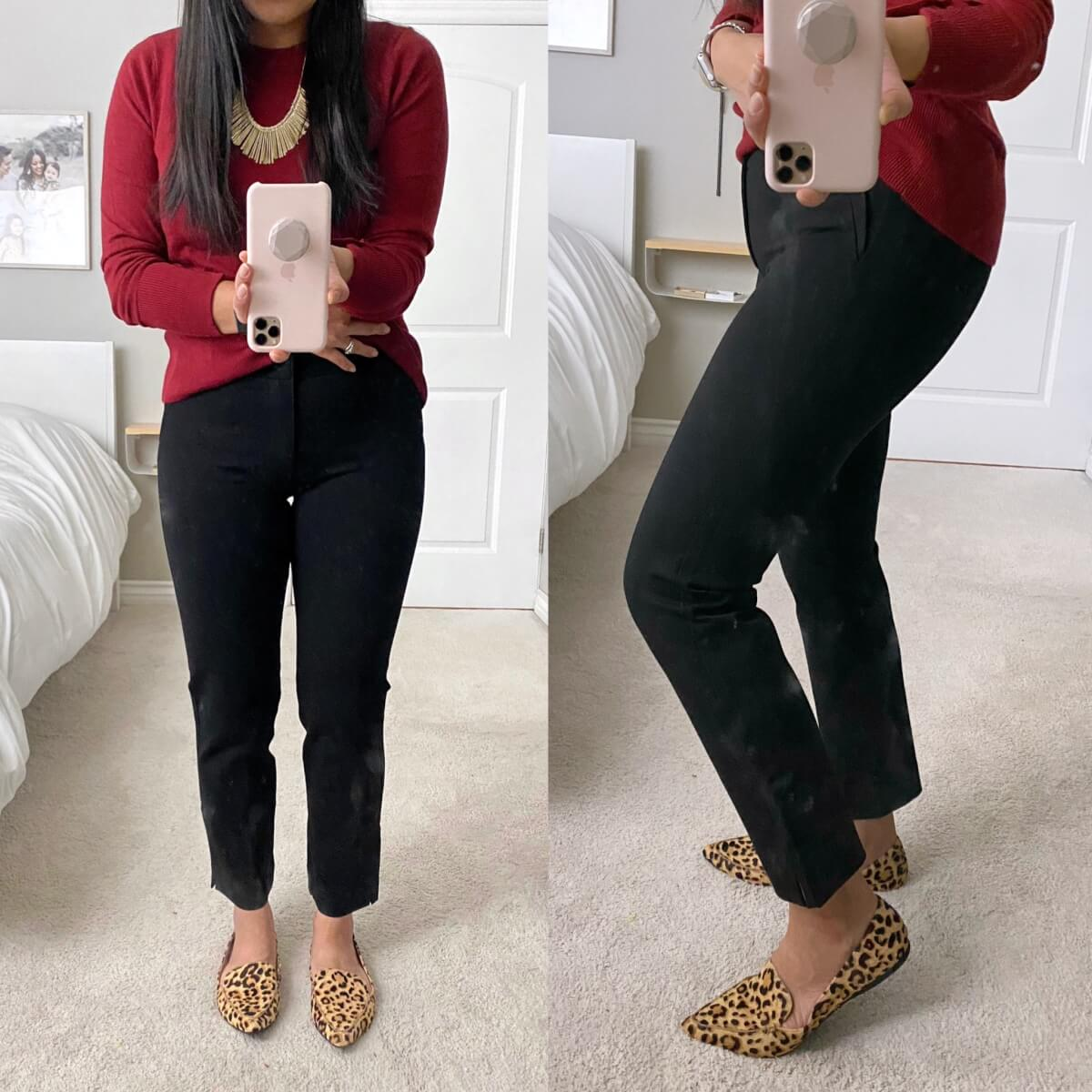 Business Casual Outfit: black ankle pants + red sweater + gold fringe statement necklace + leopard print loafers