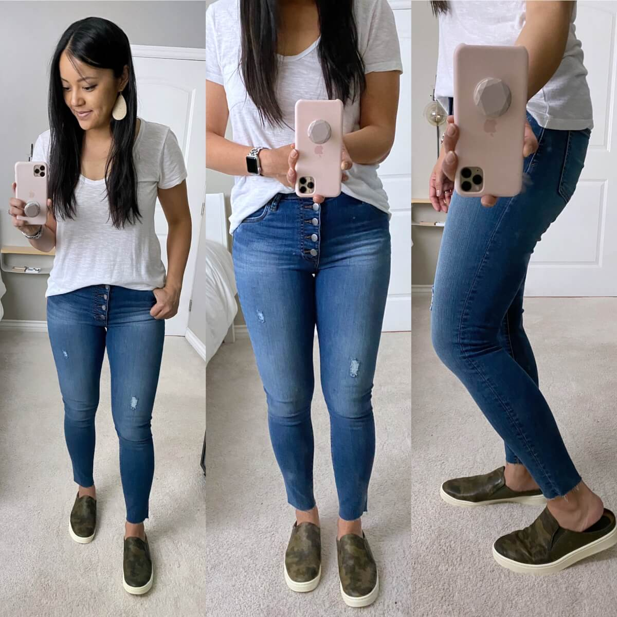 Casual Jeans Outfit: white tee + button-fly skinny jeans + camo slip-on sneakers + gold leather earrings