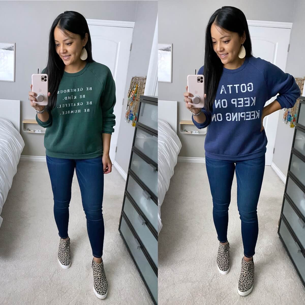 2 Casual Sweatshirt Outfits: green or navy graphic sweatshirt + skinny jeans + leopard print wedge sneakers + gold leather earrings