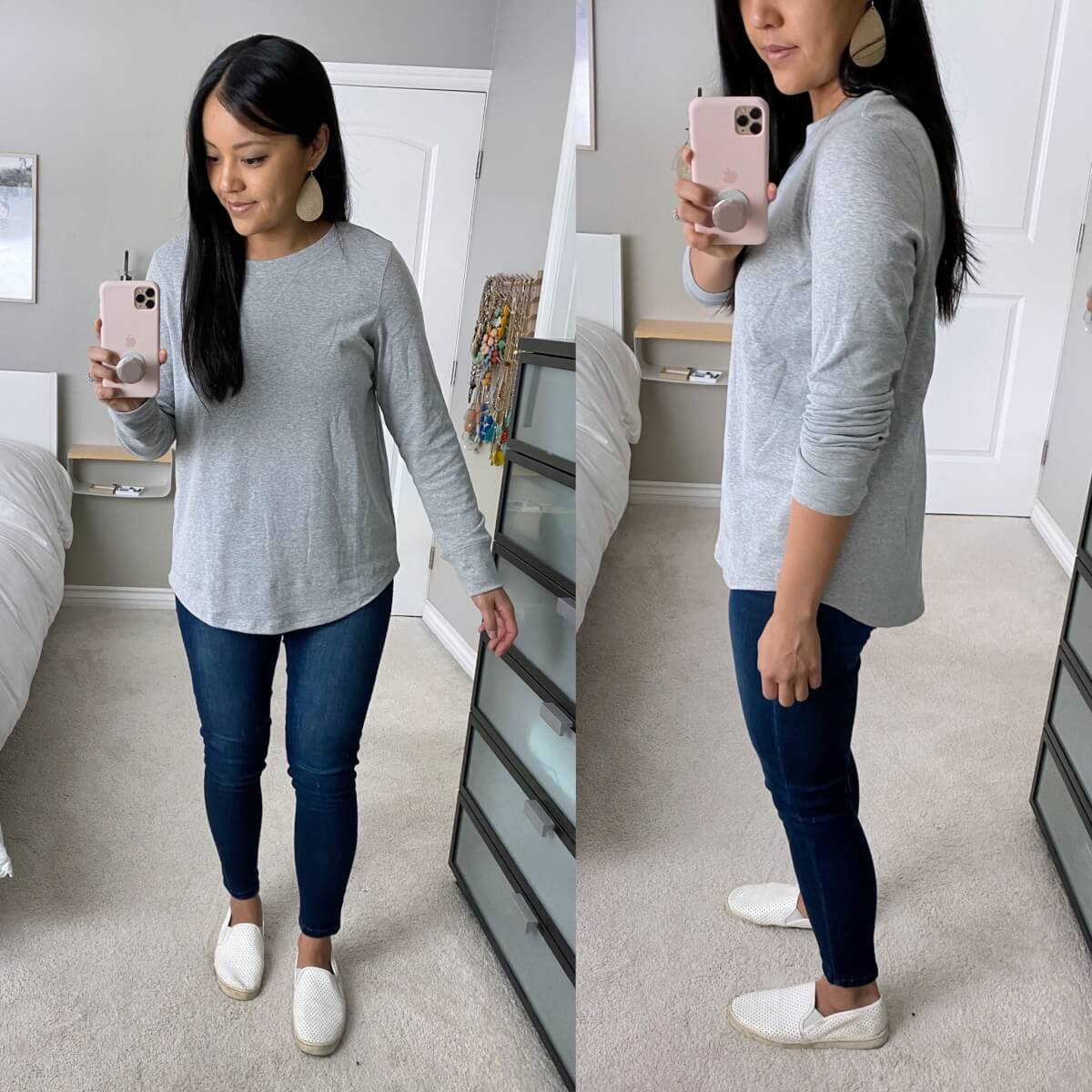 Casual Jeans Outfit: skinny jeans + grey tunic top + metallic leather earrings + white slip-on sneakers