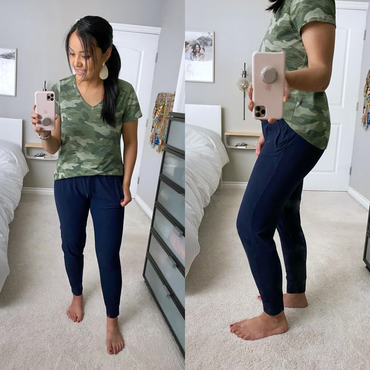 Casual Joggers Outfit: navy joggers + camo v-neck tee + metallic leather earrings