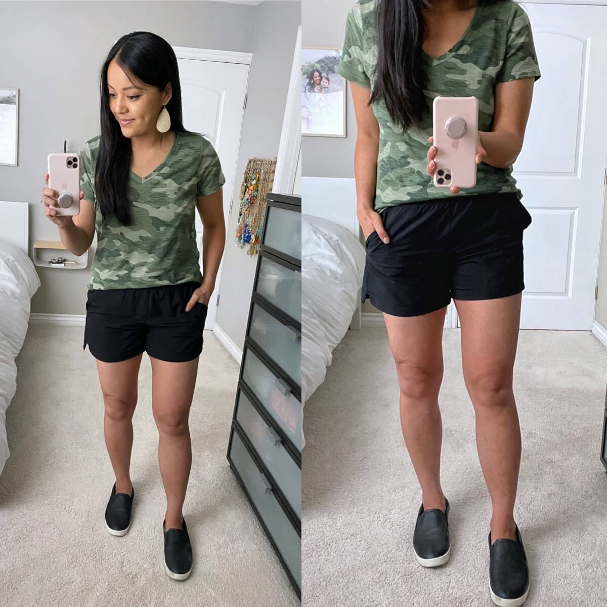 Casual Summer Outfit: camo tee + black shorts + black slip-on sneakers + metallic leather earrings