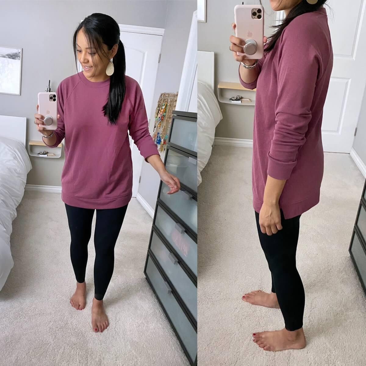 Casual Leggings Outfit: pink tunic sweatshirt + black leggings + metallic leather earrings
