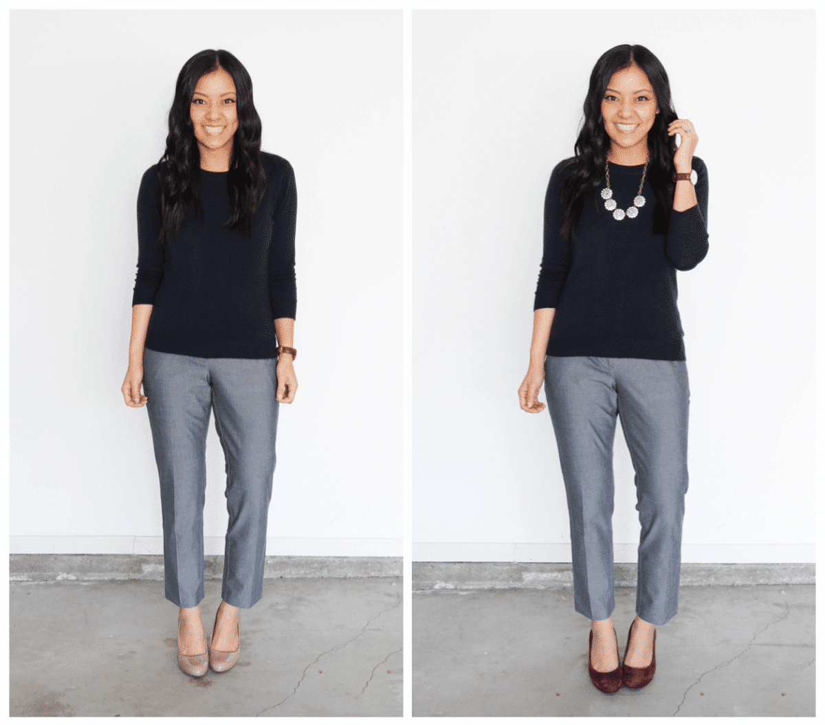 outfit with accessories: black sweater + gray work pants + necklace