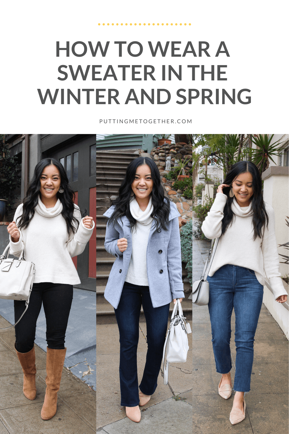 how to wear sweater in winter and spring
