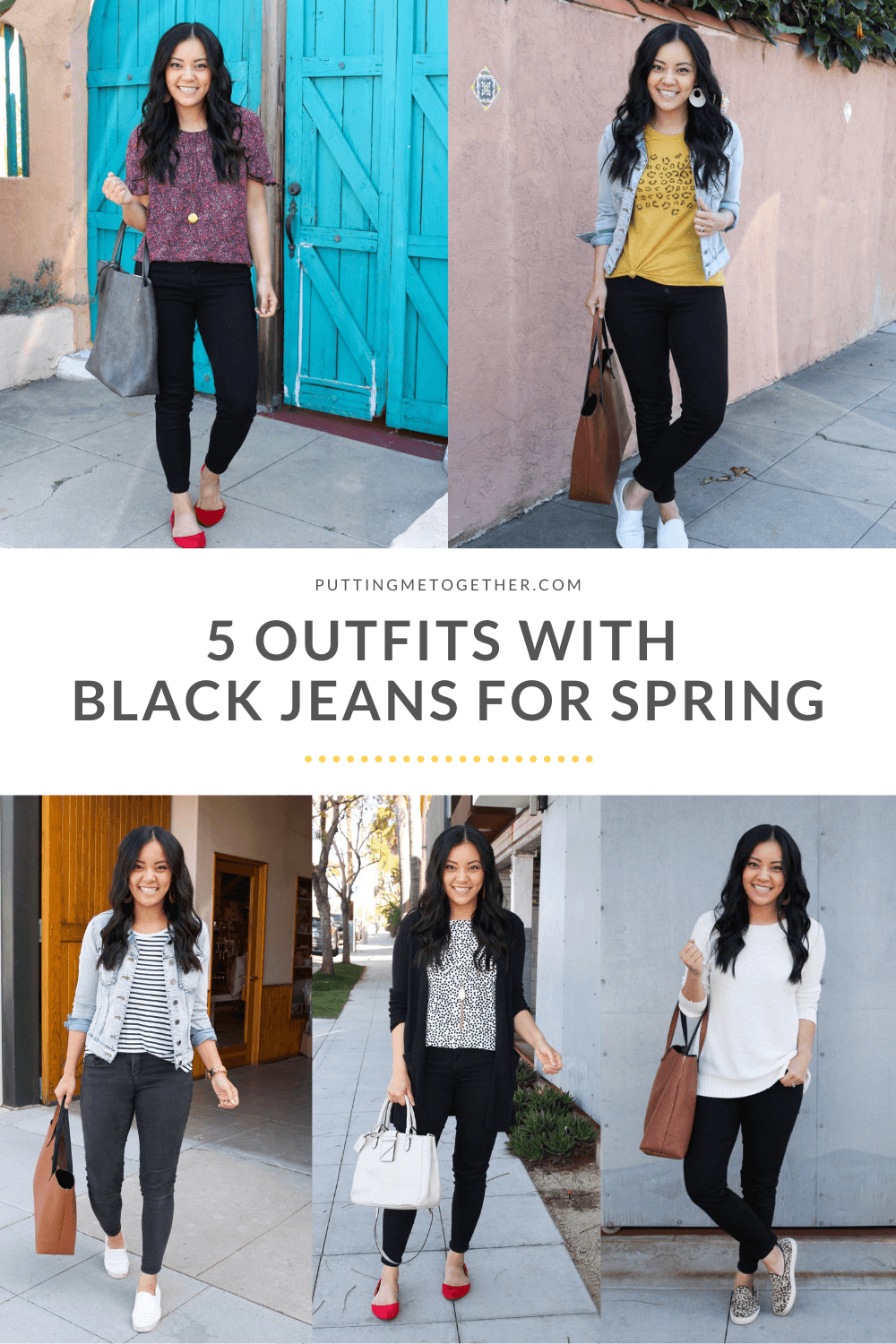 5 Outfits With Black Denim For Spring