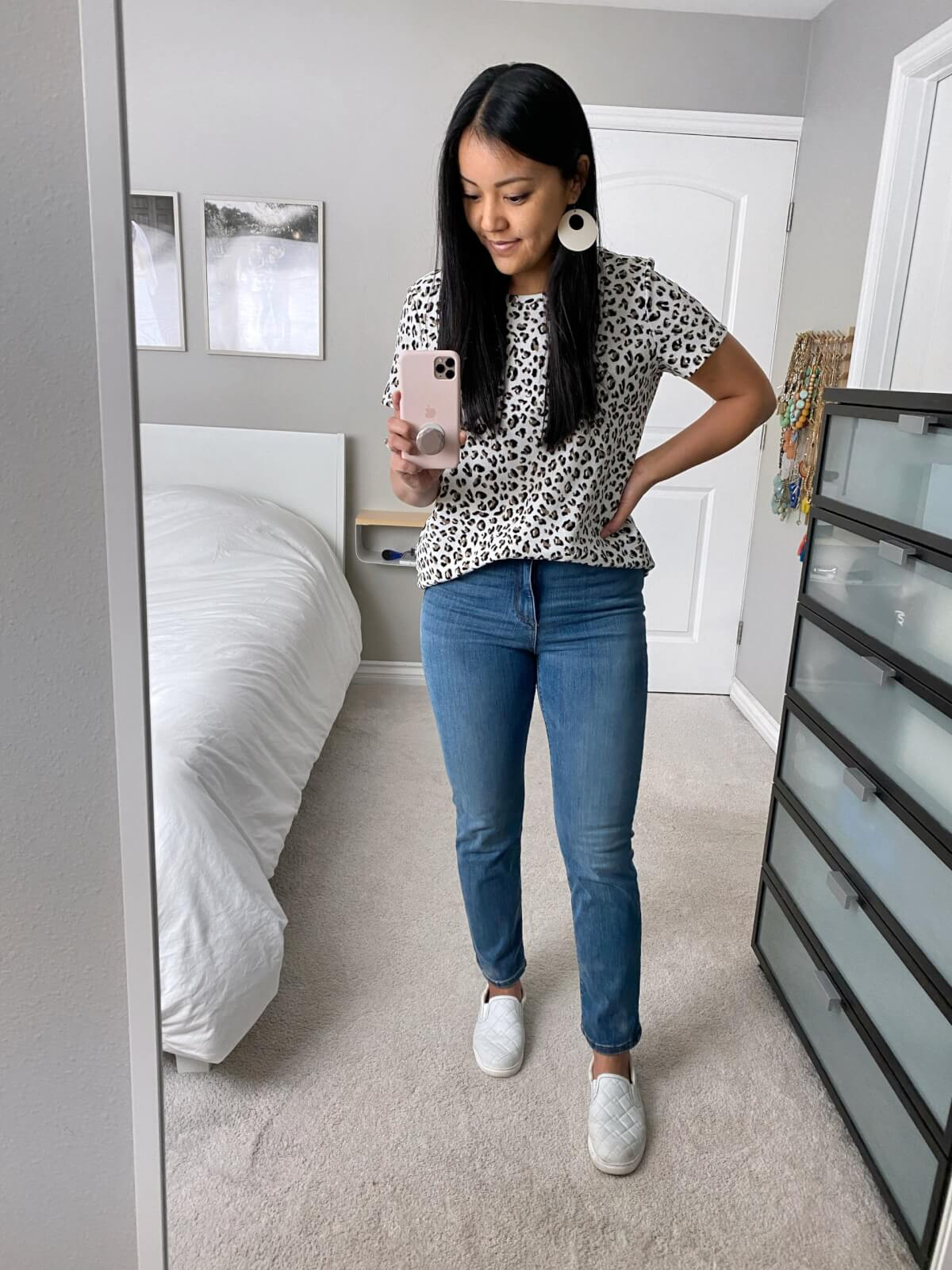 Amazon Review: Goodthreads High Rise Straight Leg Jeans + Leopard Tee + White Earrings + White Slip-On Sneakers