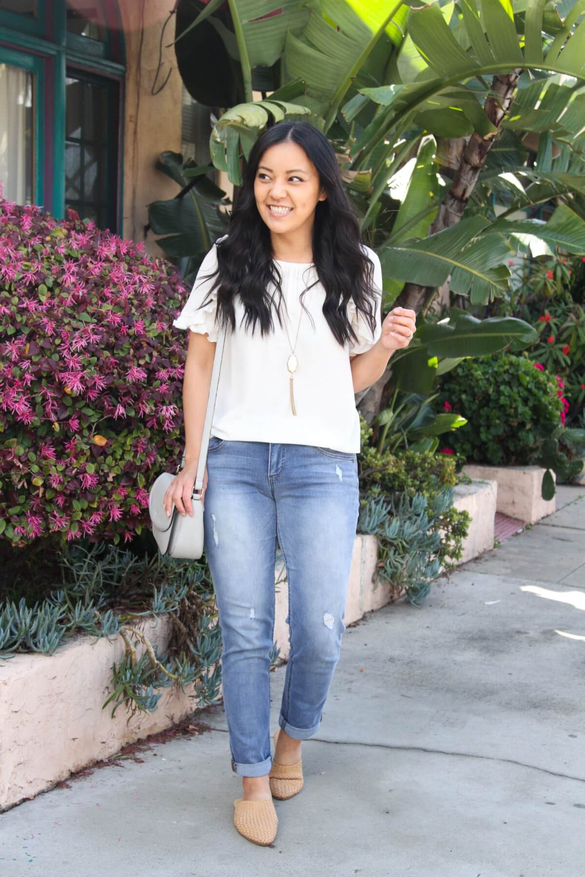 white top for spring: white top, girlfriend jeans, nude flats, statement necklace, gray bag