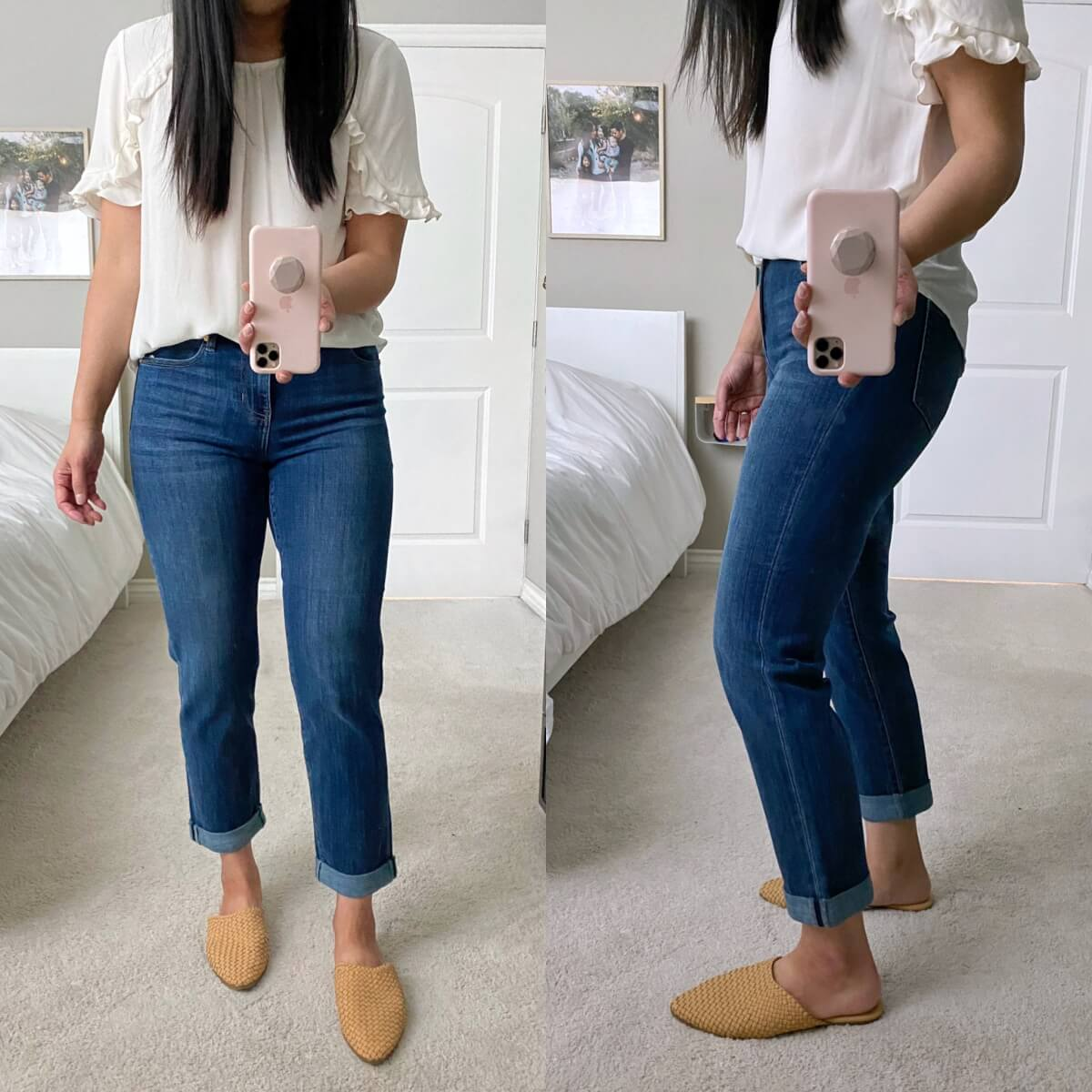 Liverpool Review: girlfriend jeans + white ruffle top + woven mules