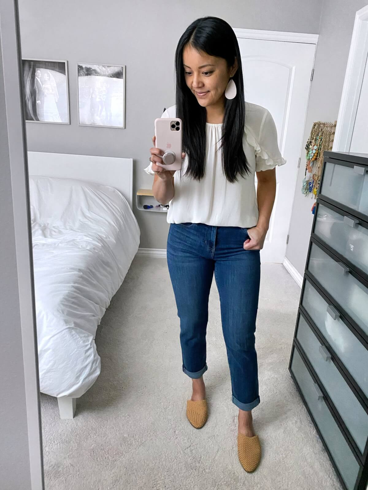Liverpool Review: girlfriend jeans + white ruffle top + white earrings + woven mules