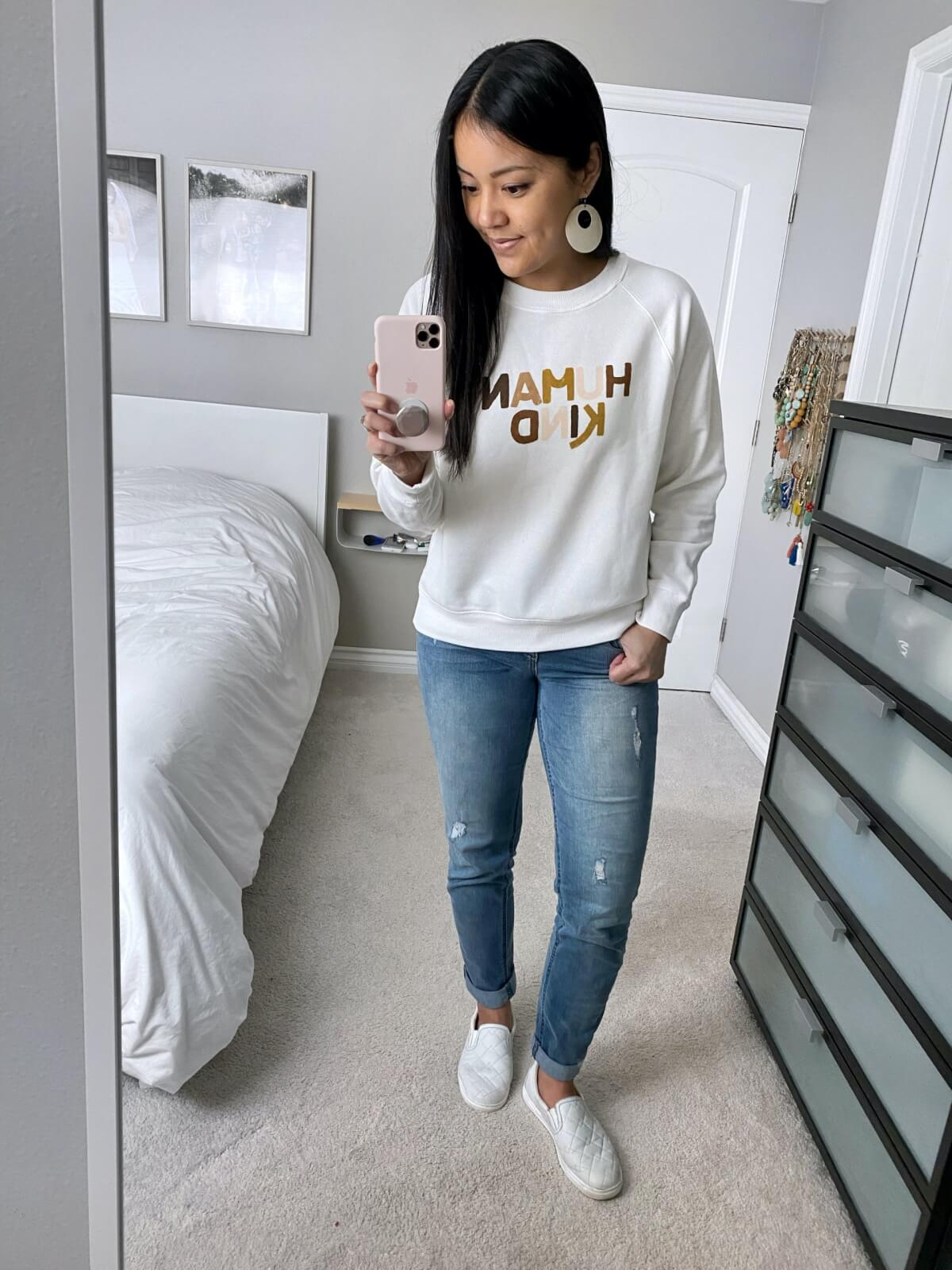 Old Navy Review Human Kind Sweatshirt Distressed Wit & Wisdom Girlfriend Jeans