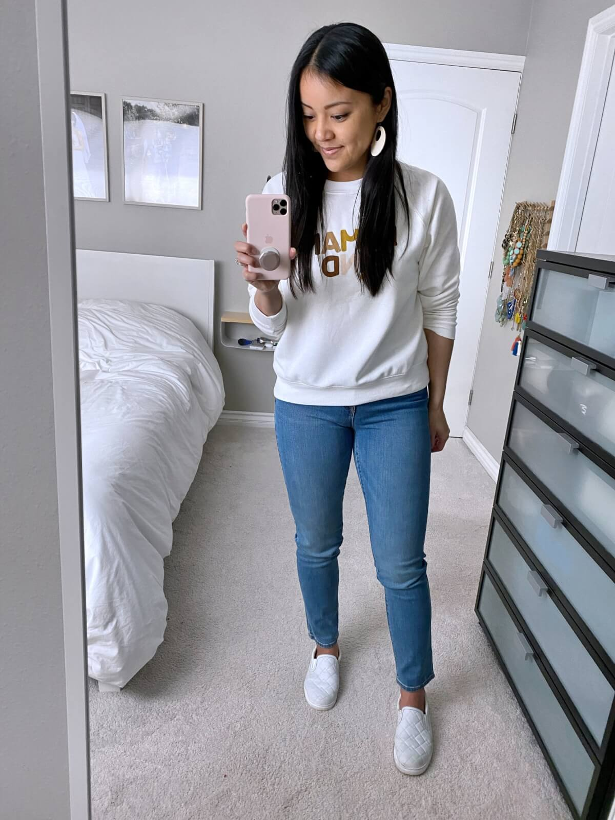 Old Navy Review: straight leg jeans + human kind sweatshirt + white earrings + white slip-on sneakers