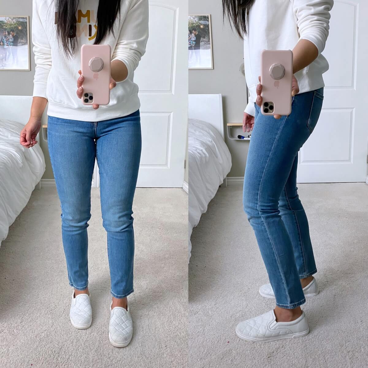 Old Navy Review: straight leg jeans + white sweatshirt + white earrings + white slip-on sneakers