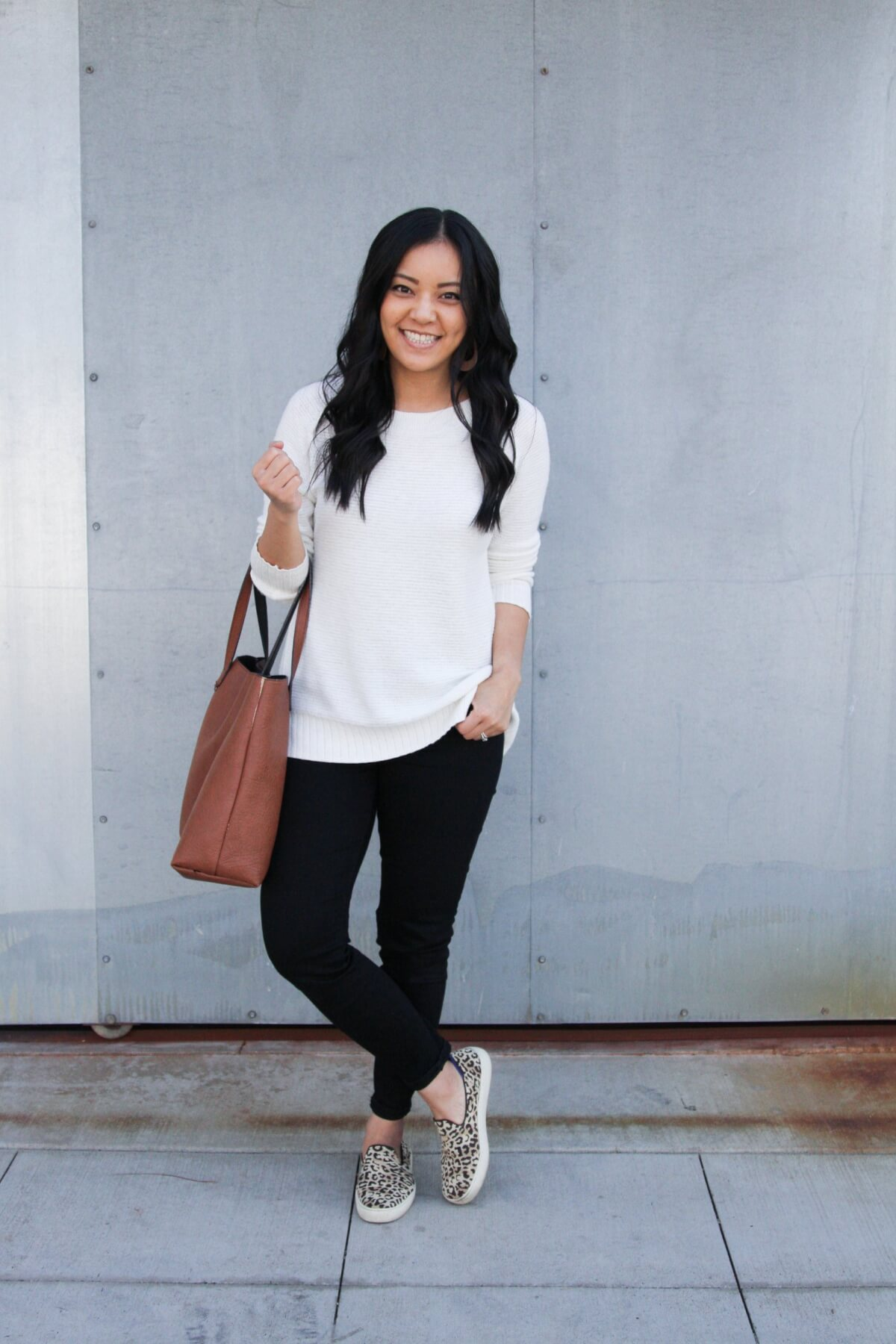 Classic Outfit: white sweater + black jeans + leopard sneakers + tan earrings + tan tote