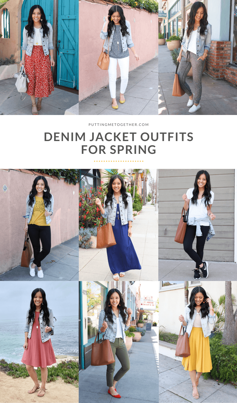 different outfits with a denim jacket in spring