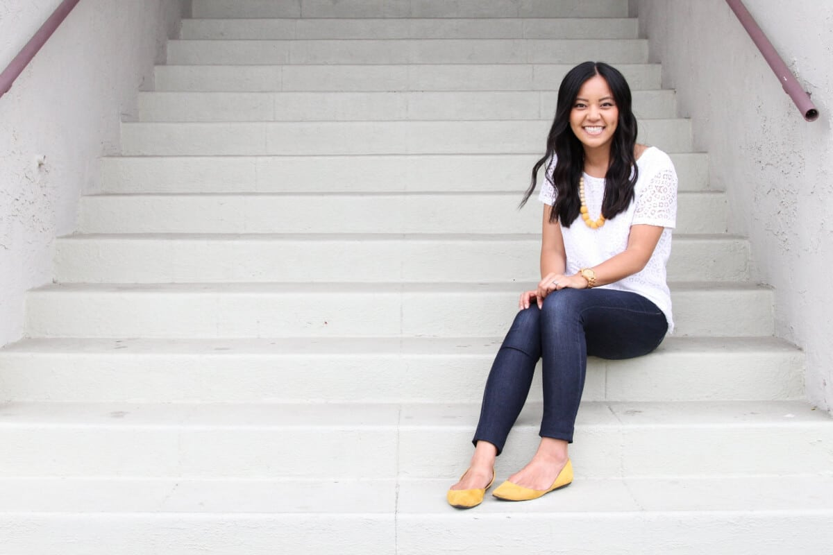 Classic Outfit: white lace top + jeans + yellow flats + yellow statement necklace