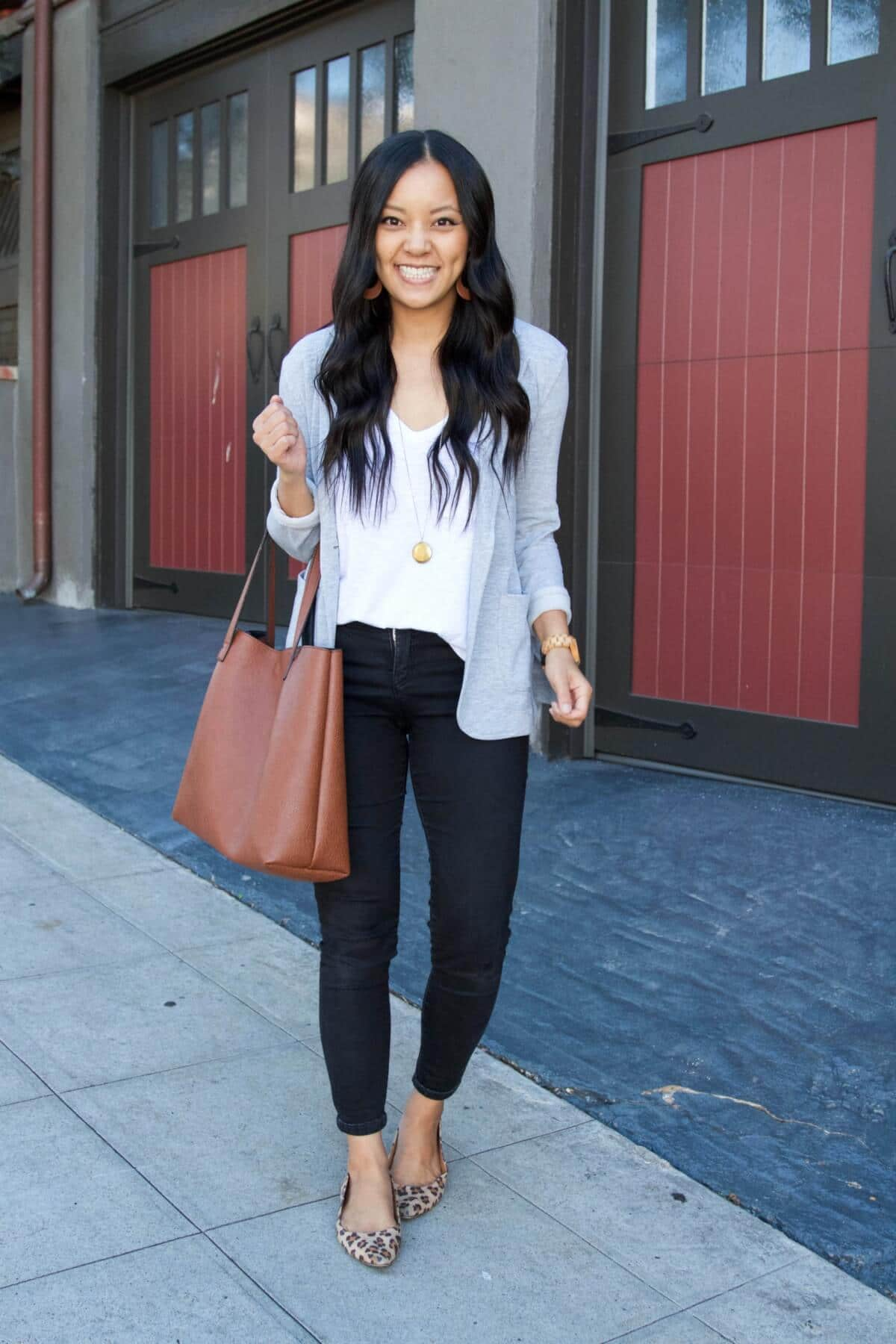 Classic Outfit: white tee + gray blazer + black pants + leopard flats + tan earrings + pendant necklace + brown tote