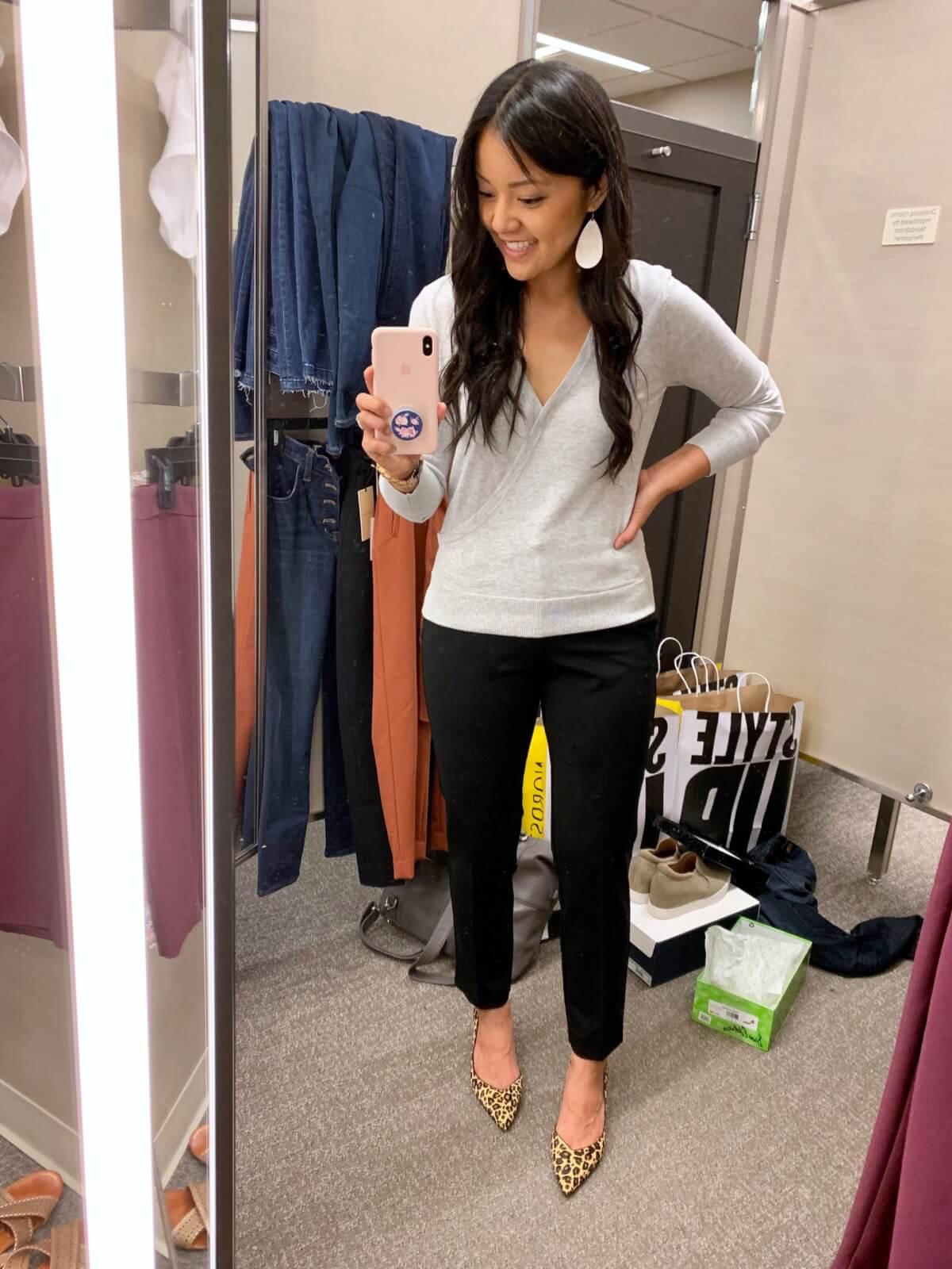 Classic Outfit: gray surplice sweater + black pants + leopard heels + white earrings