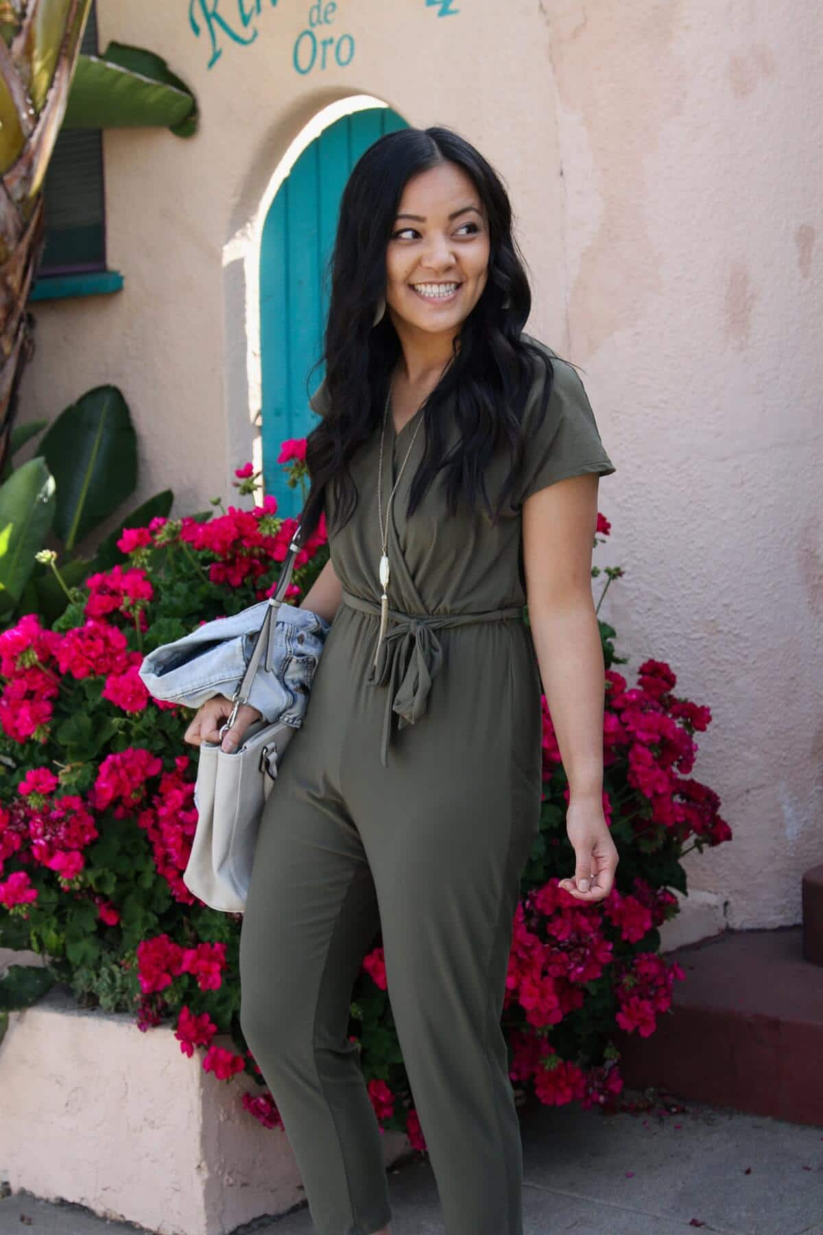Lunch with Friends Outfit: olive jumpsuit + denim jacket + white bag