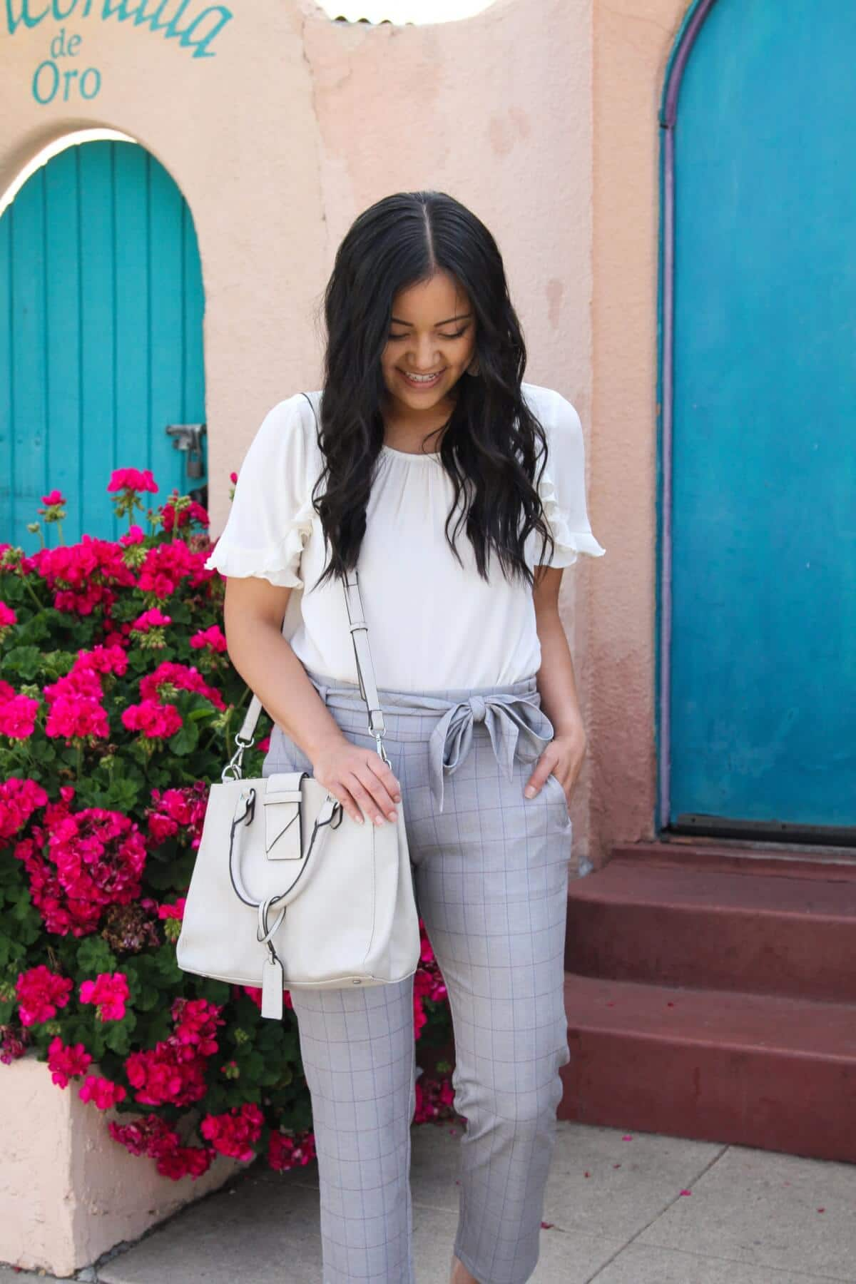 Easy to Wear Shoes for Spring: white ruffle sleeve blouse + Liverpool plaid tie waist pants + white bag