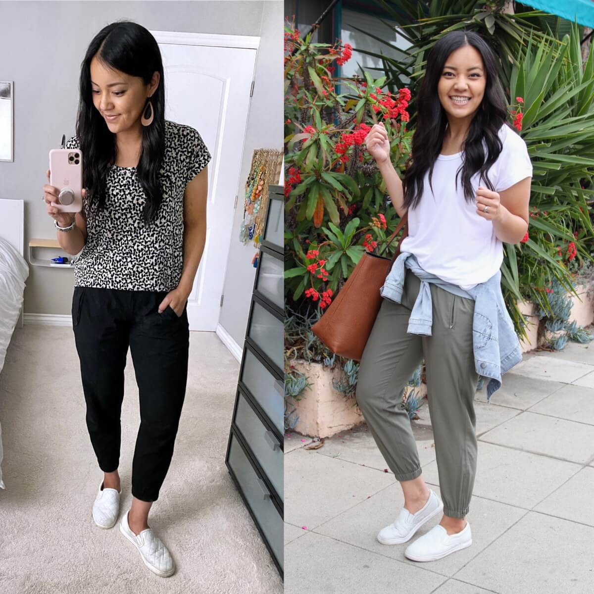 Casual Outfit: Old Navy luxe tunic tee leopard white + stretchtech joggers black olive + white slip-on sneakers + denim jacket + tan tote