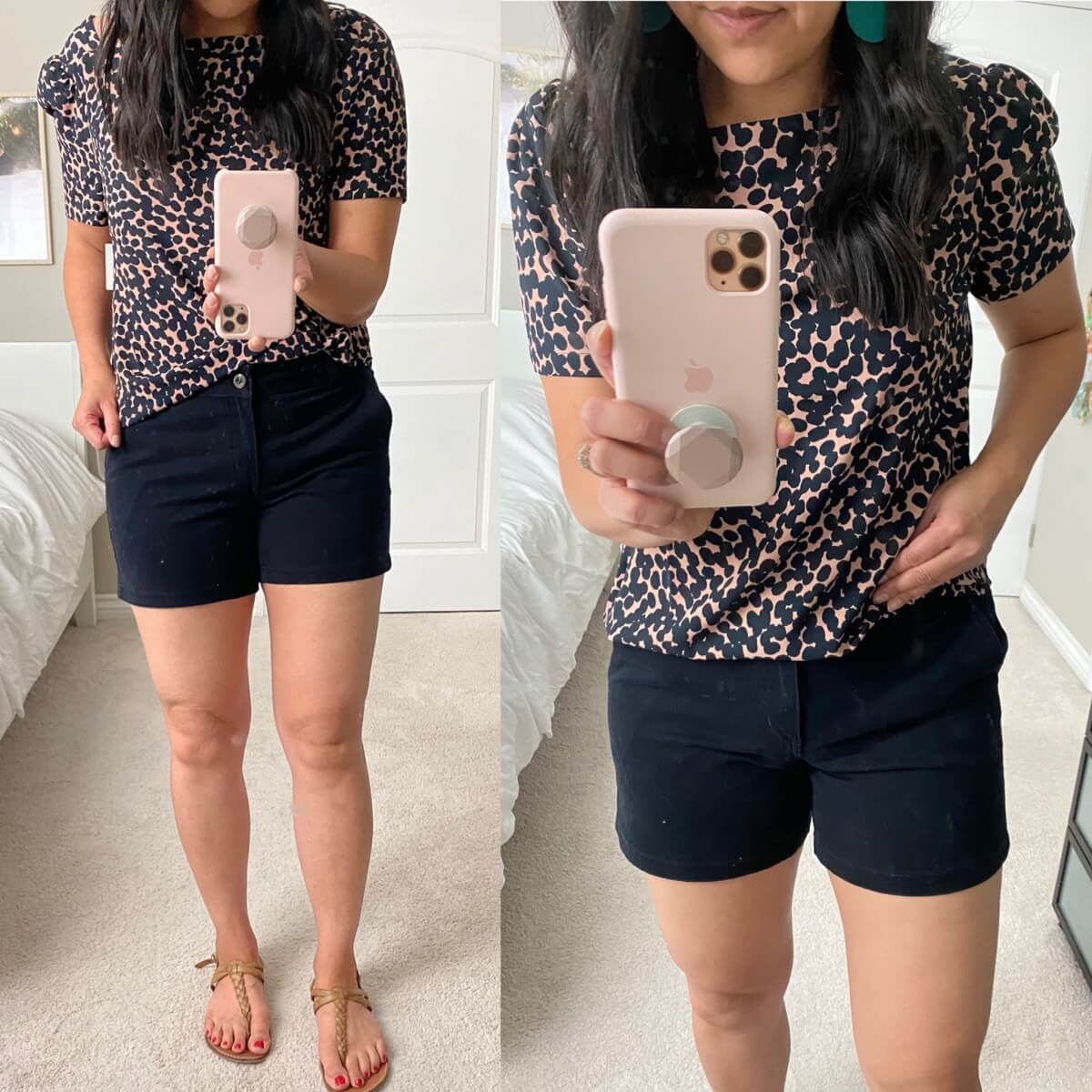 Nicer Casual Outfit: Lark & Ro square neck navy and camel spotted blouse + black shorts + nude t-strap sandals + teal earrings close up