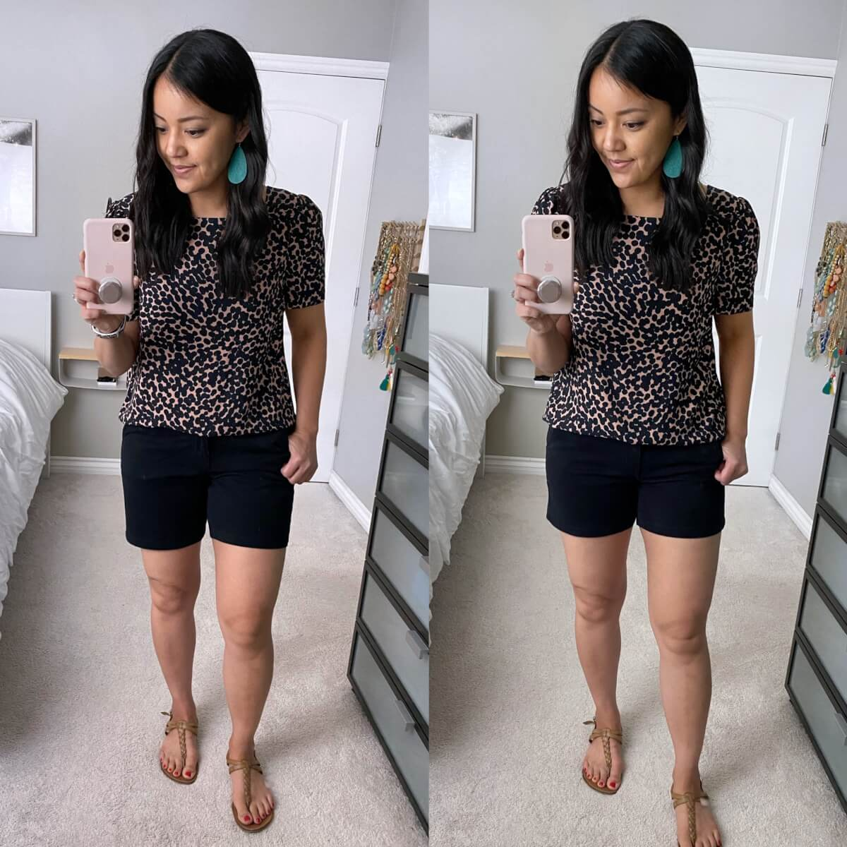 Nicer Casual Outfit: Lark & Ro square neck black and camel spotted blouse + black shorts + nude t-strap sandals + teal earrings