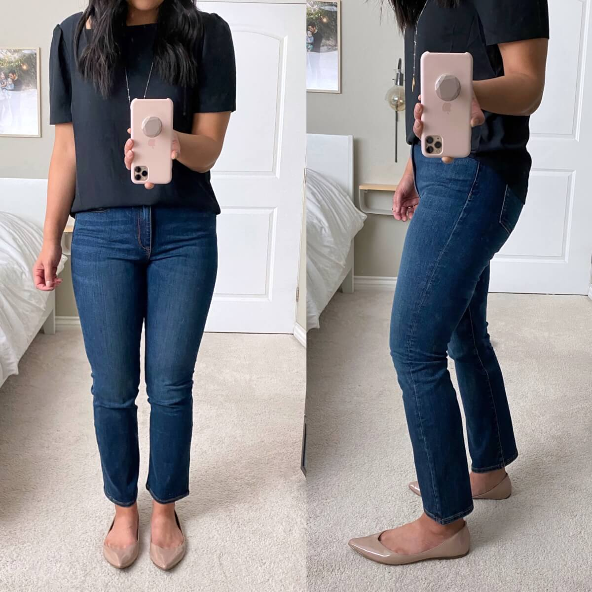 Nicer Casual Outfit: navy square neck top + Amazon straight leg jeans + nude flats + pendant necklace