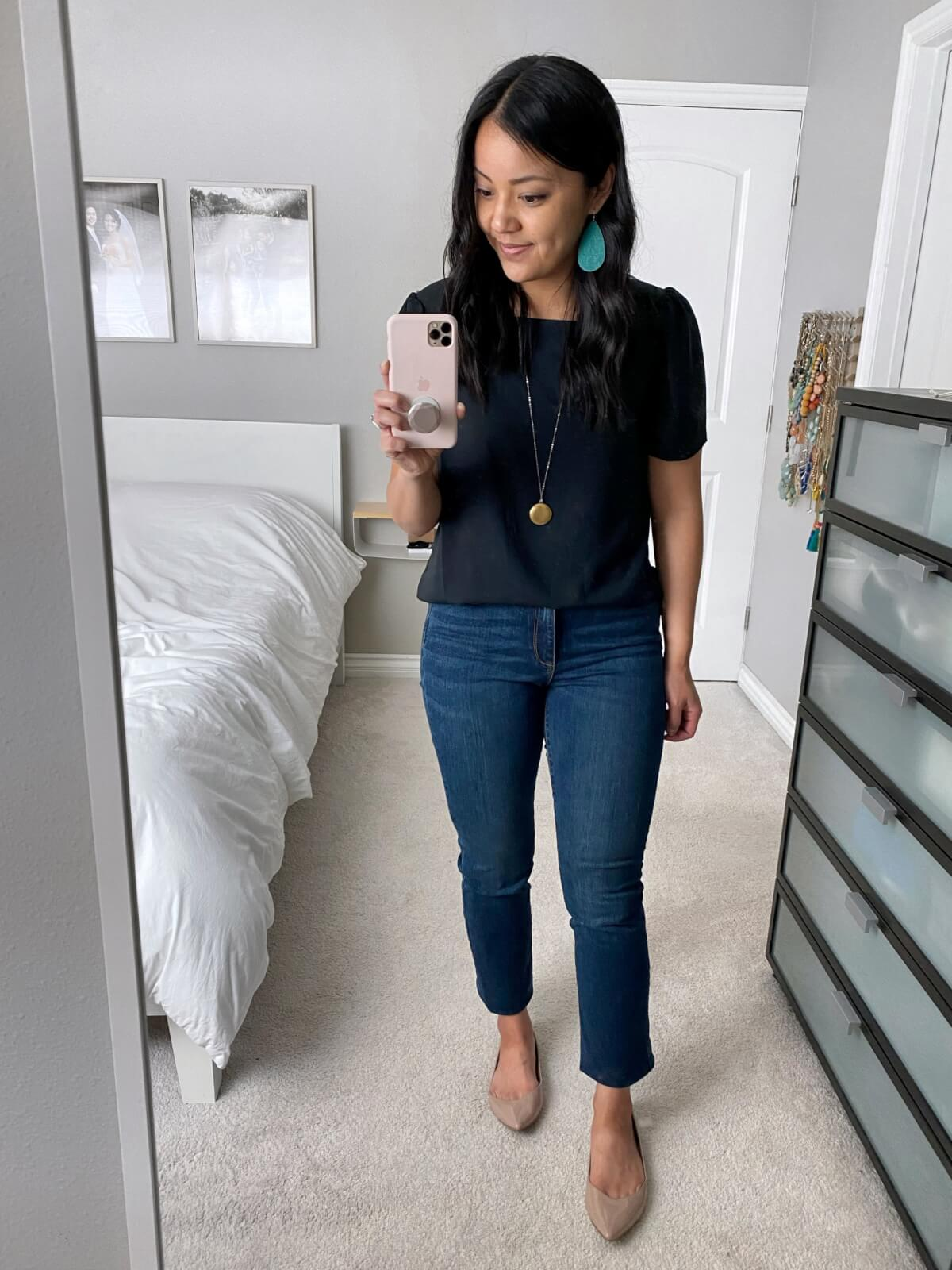 Nicer Casual Outfit: navy square neck top + jeans + nude flats + teal earrings + pendant necklace