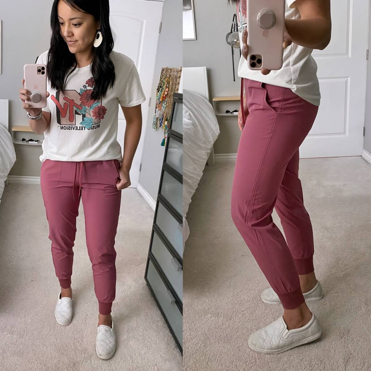 Casual Outfit: MTV tee + pink Amazon joggers + white slip-on sneakers + white earrings