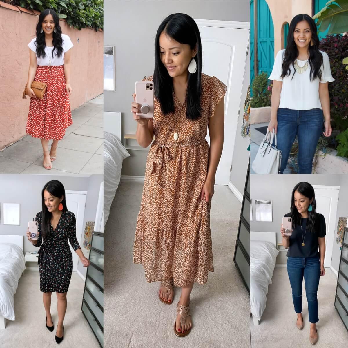 Amazon Deals: white tee + red midi skirt + cognac clutch + nude heels + bohemian rust midi dress + metallic sandals + white ruffle sleeve top + jeans + white bag + black red wrap dress + black heels + navy square neck top + nude flats