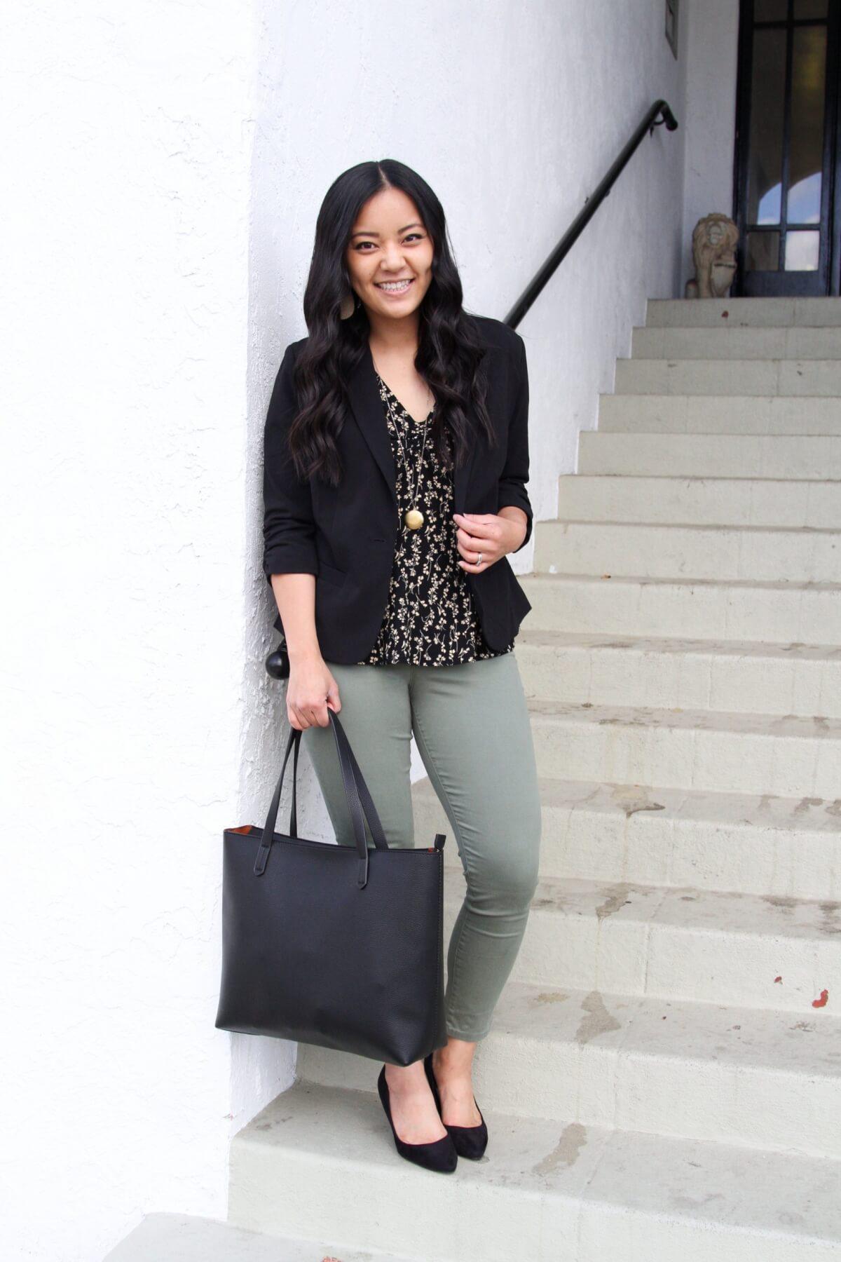 Work Outfit: black Eliza blazer + black and ivory floral top + olive pants + black pumps + pendant necklace + black tote