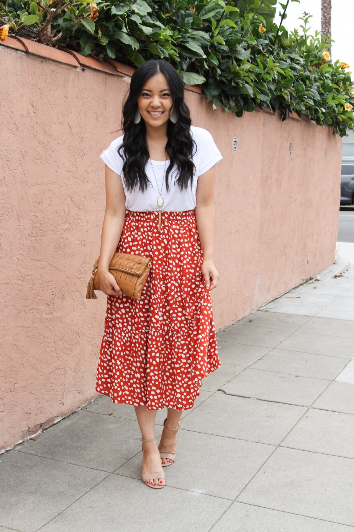 Summer Shoes Dressy Casual Outfit: white tee + red and white midi skirt + nude open toe heels + white earrings + pendant necklace + tan clutch