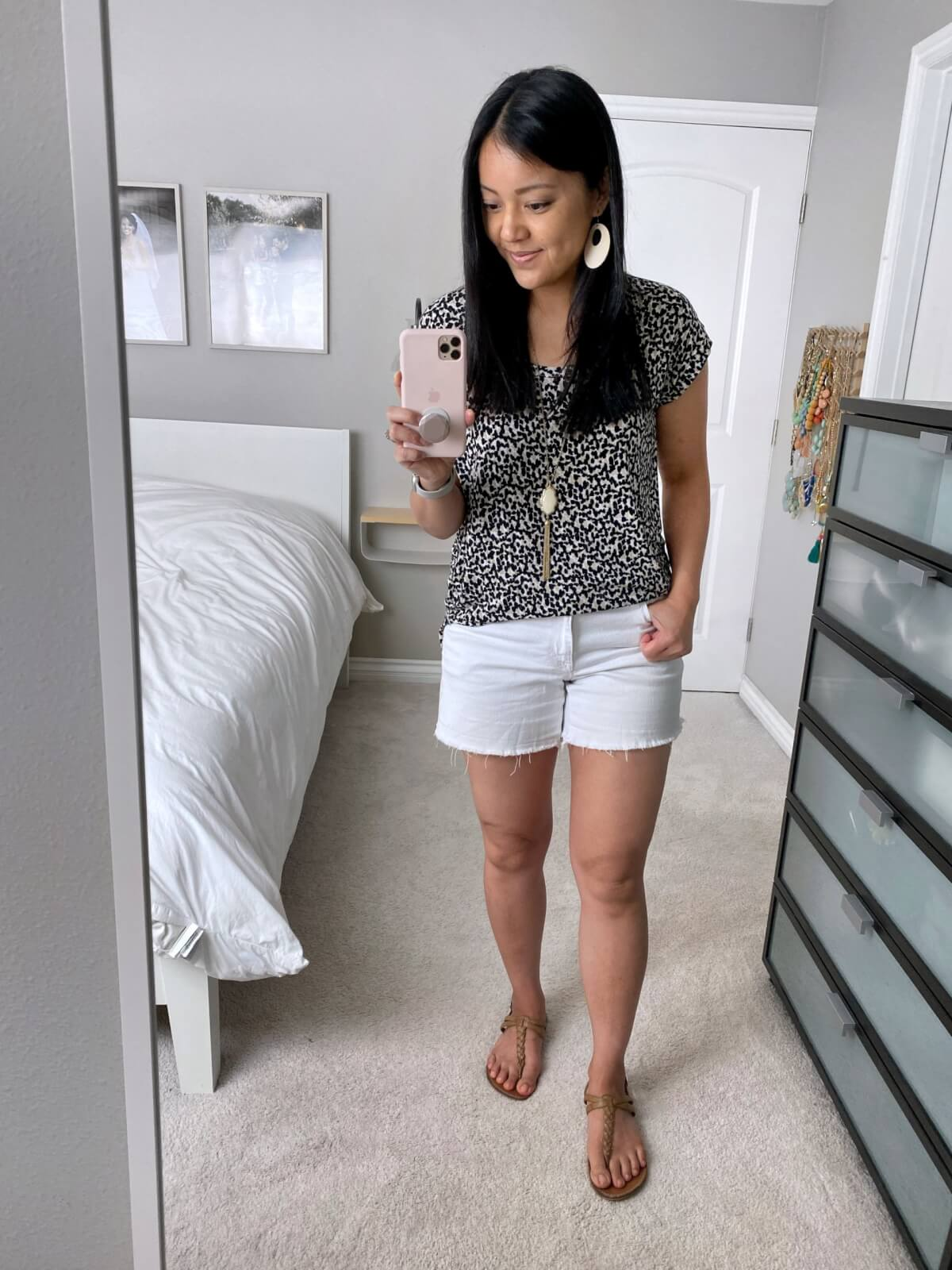 Casual Outfit: leopard tee + white shorts + brown t-strap sandals + white earrings + pendant necklace