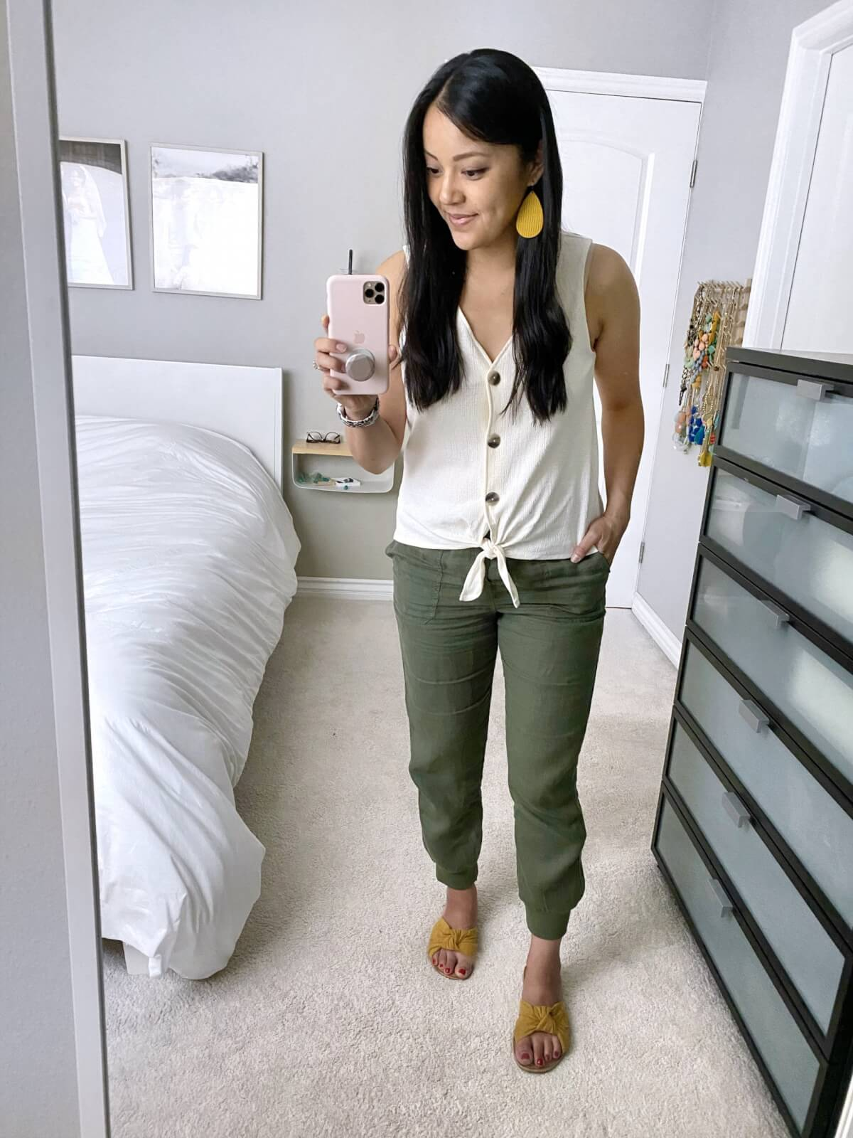 Summer Pants Casual Outfit: Caslon olive linen pants + white button up tank + yellow earrings + yellow slide sandals