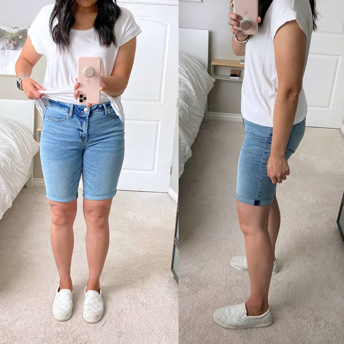 Casual Outfit: JCPenney bermuda shorts + white tee + white slip-on sneakers
