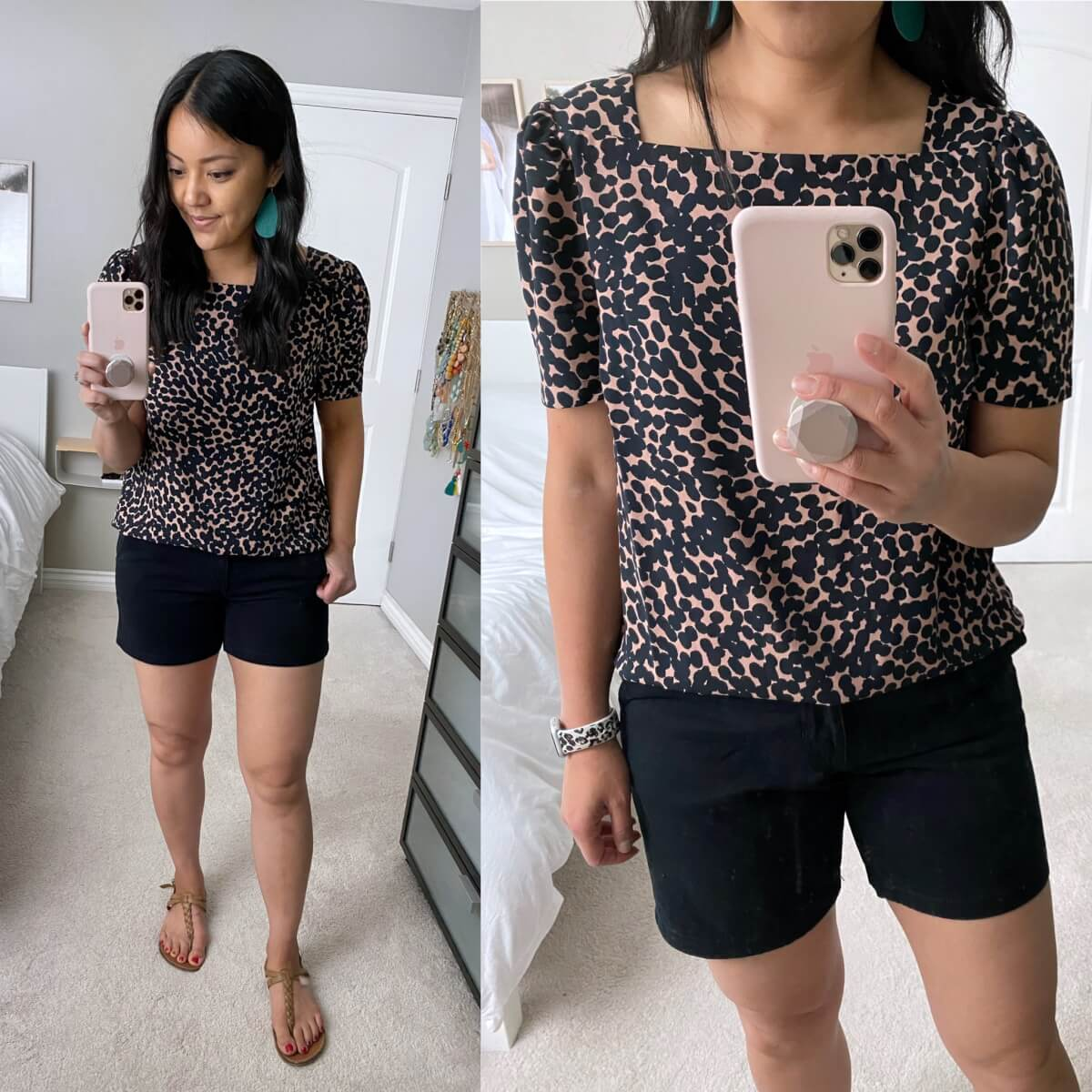 Nicer Casual Outfit: Amazon square neck navy and camel spotted blouse + black shorts + nude t-strap sandals + teal earrings close up