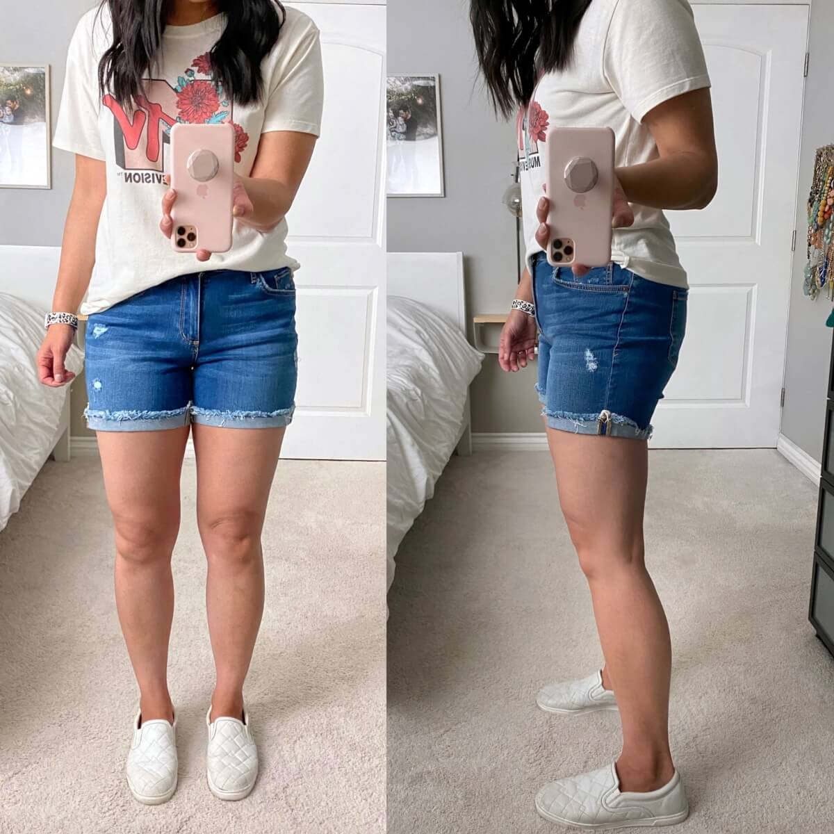 Casual Outfit: MTV tee + denim shorts + white slip-on sneakers close up side