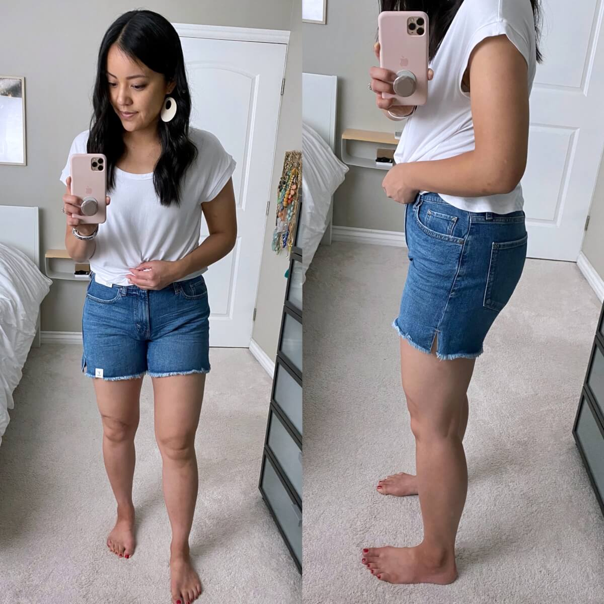 Casual Outfit: JCPenney frayed hem shorts + white tee + white earrings