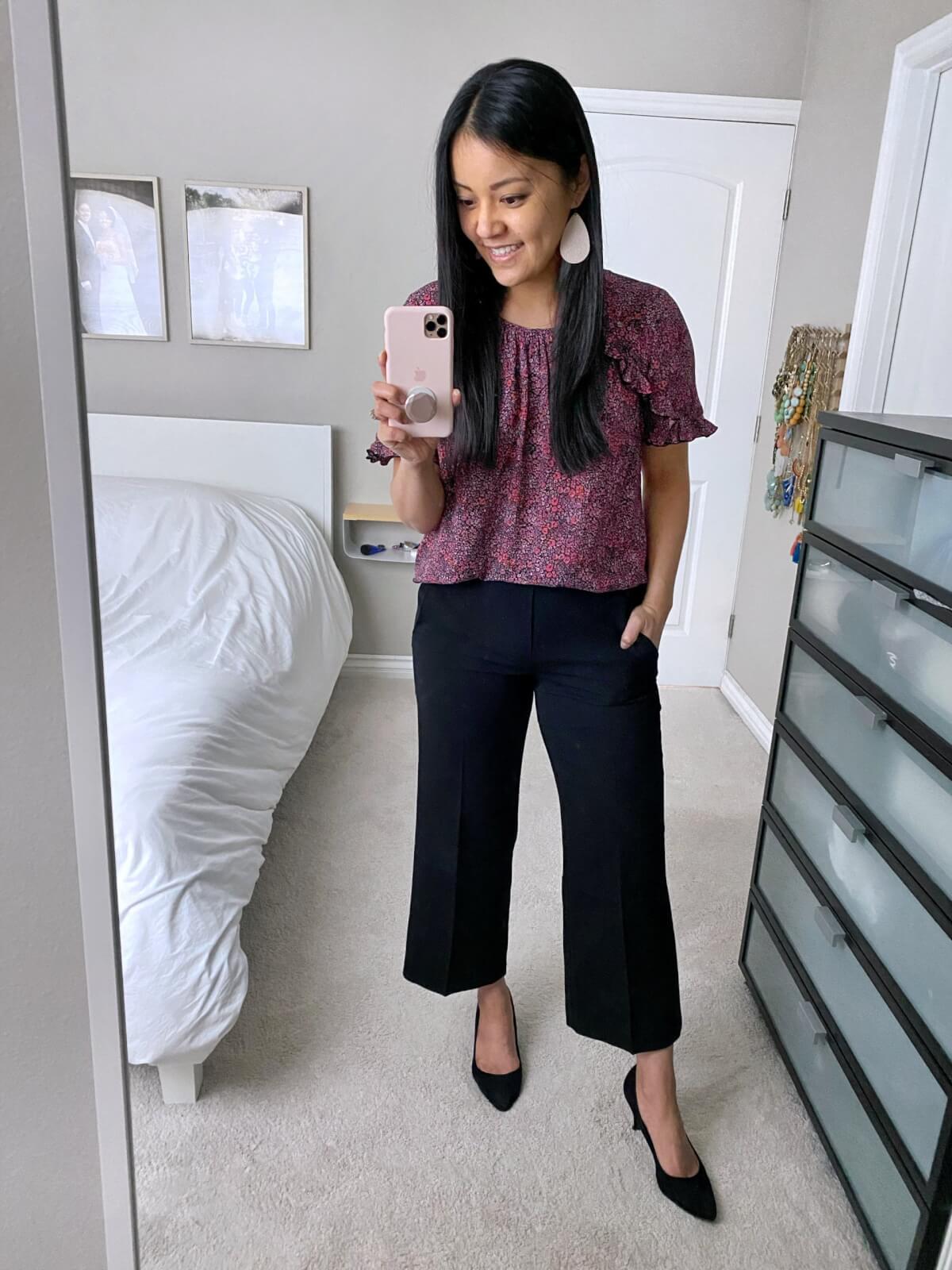 Wide Leg Pants Work Outfit: purple floral ruffle sleeve top + black wide leg pants + black pumps + white earrings