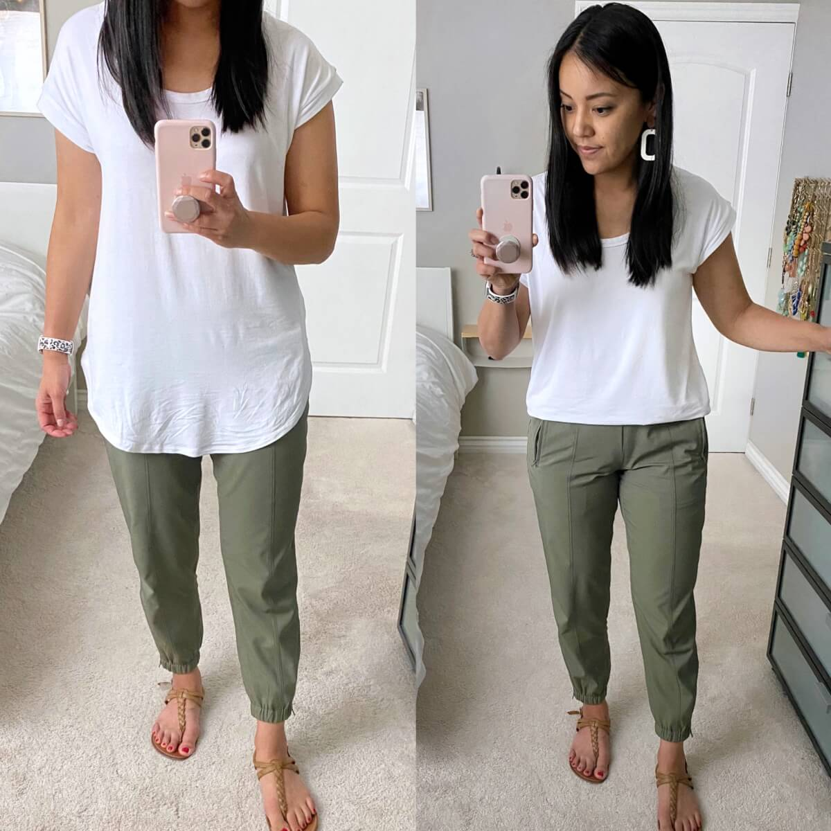 Casual Outfit: Old Navy white luxe tunic tee + olive joggers + nude t-strap sandals + white earrings