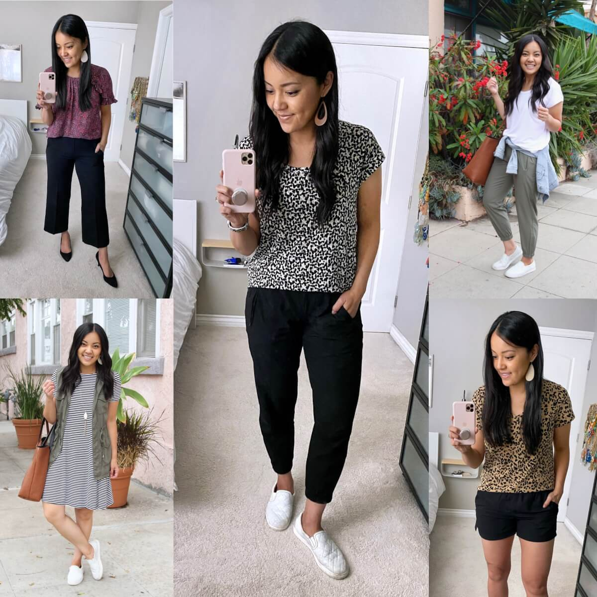 Old Navy Favorites: luxe tunic tee white leopard + olive stretchtech joggers + wide leg pants + striped swing dress + olive utility vest + white slip-on sneakers + black pumps + purple floral flutter sleeve tee + tan tote