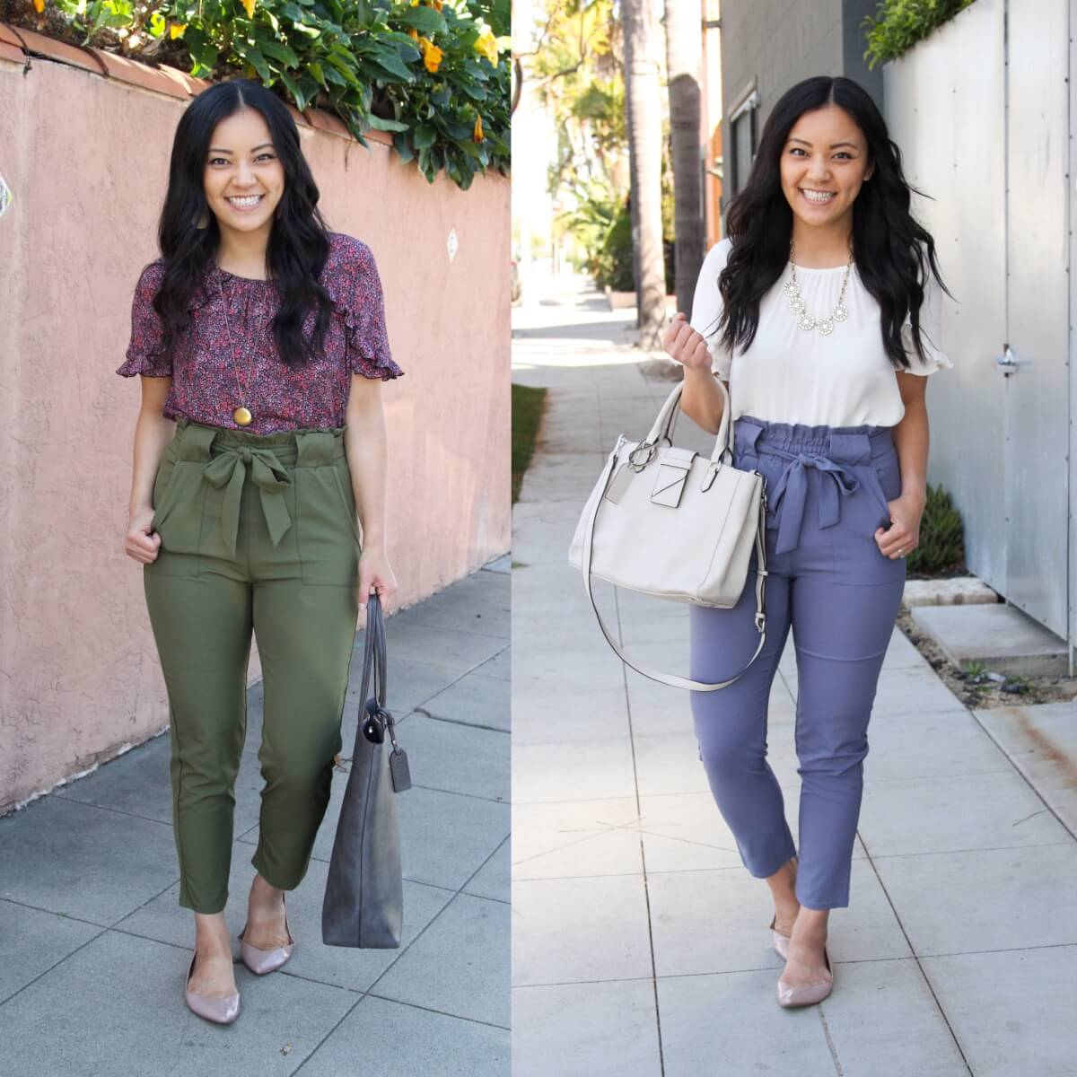 Summer Pants Work Outfit: purple floral ruffle sleeve top + olive tie waist pants + nude flats + pendant necklace + gray tote + white ruffle sleeve top + blue tie waist pants + nude flats + statement necklace + white bag