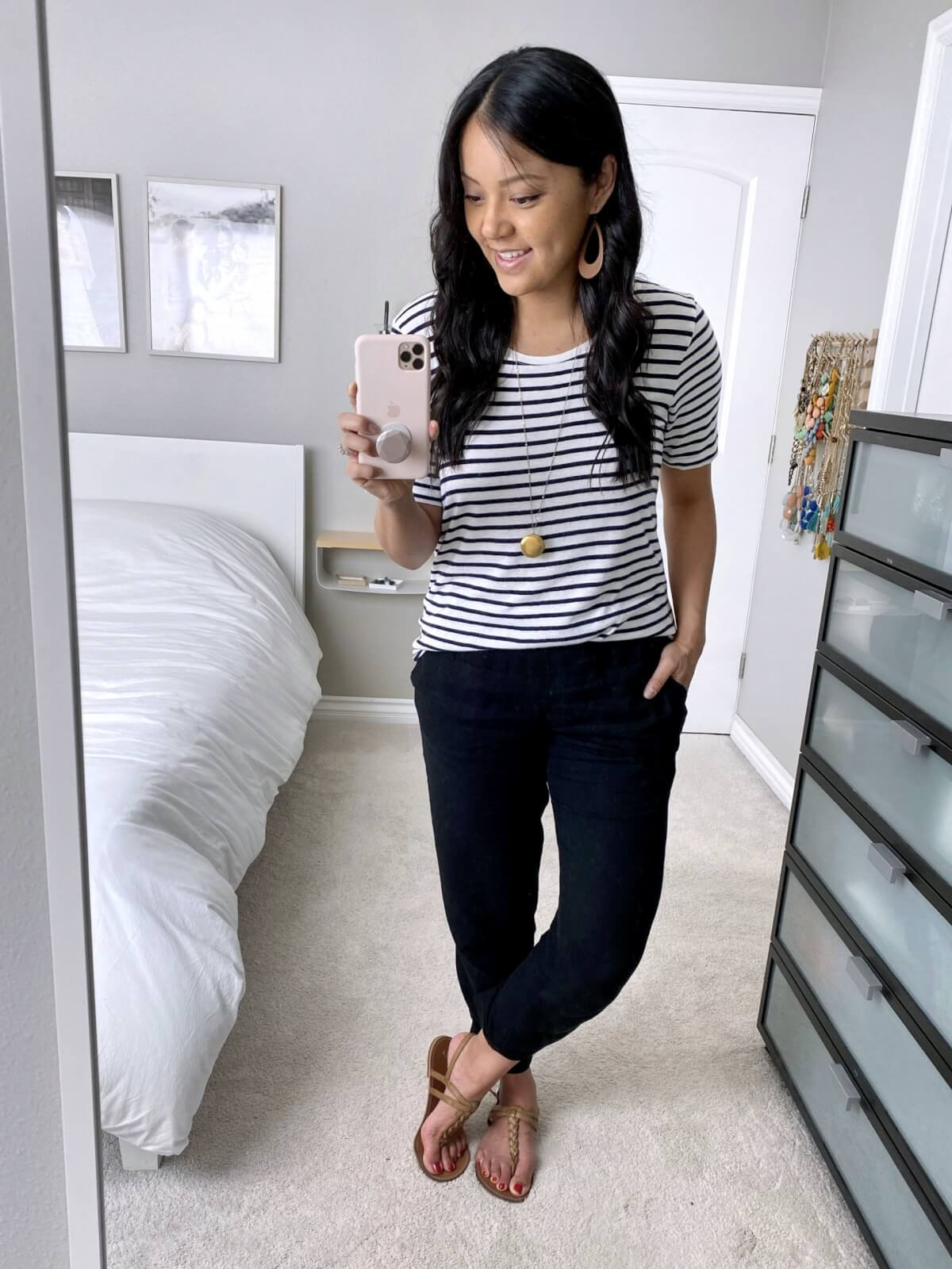 Summer Pants Casual Outfit: black and white striped tee + black linen pants + pendant necklace+ tan earrings + nude sandals