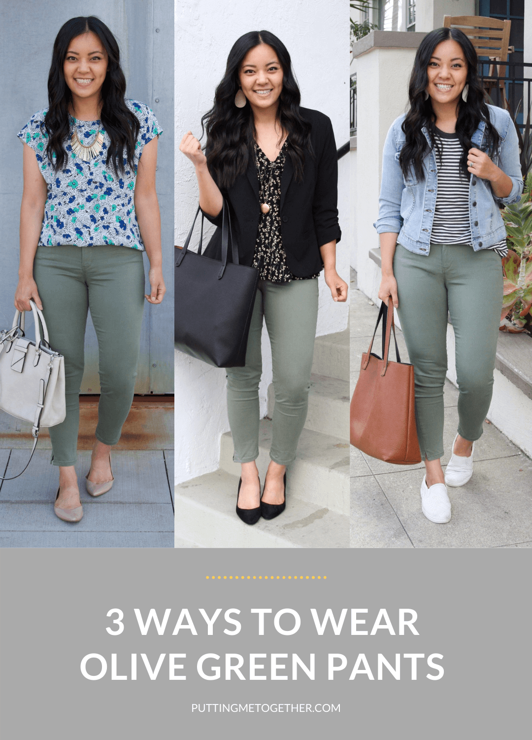 Three Olive Pants Outfits for Work and Casual