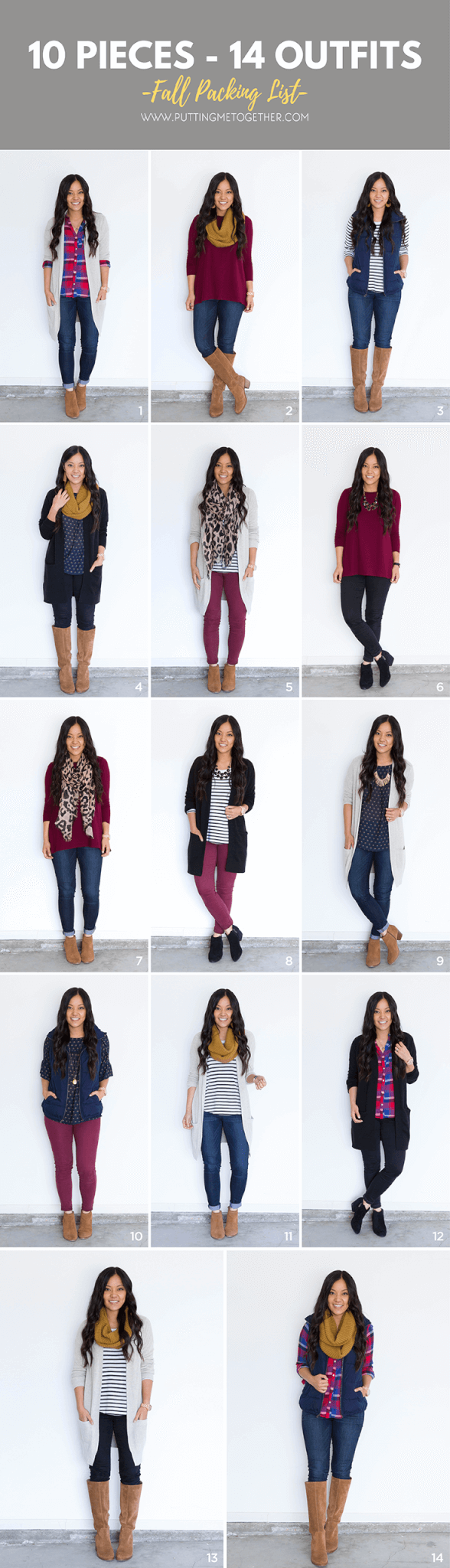 10 Pieces, 14 Outfits for Fall Capsule Wardrobe or Fall Packing