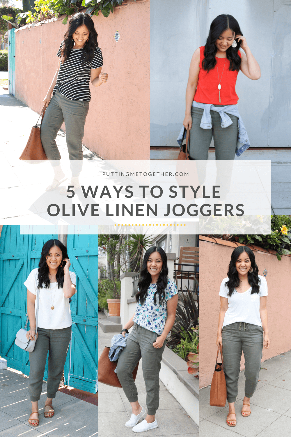 5 ways to style olive linen jogers
