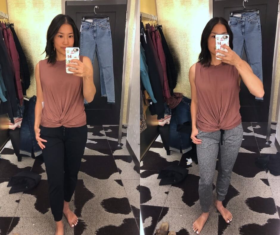 NSale Casual Athleisure Outfit: clay twist front tank + petite black joggers + gray joggers