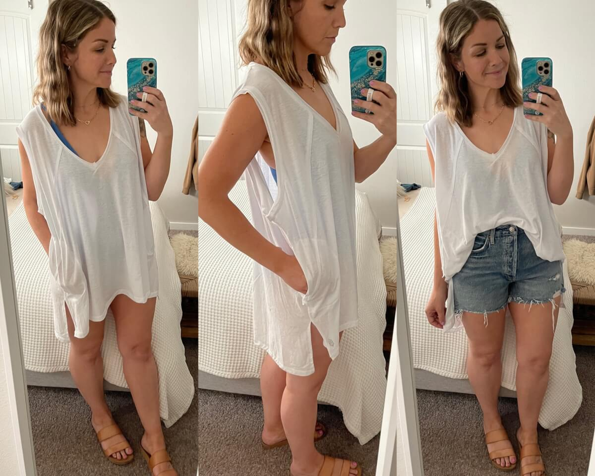 NSale Casual Outfit Pool Coverup: white oversized tee + denim shorts + swimsuit coverup + tan sandals