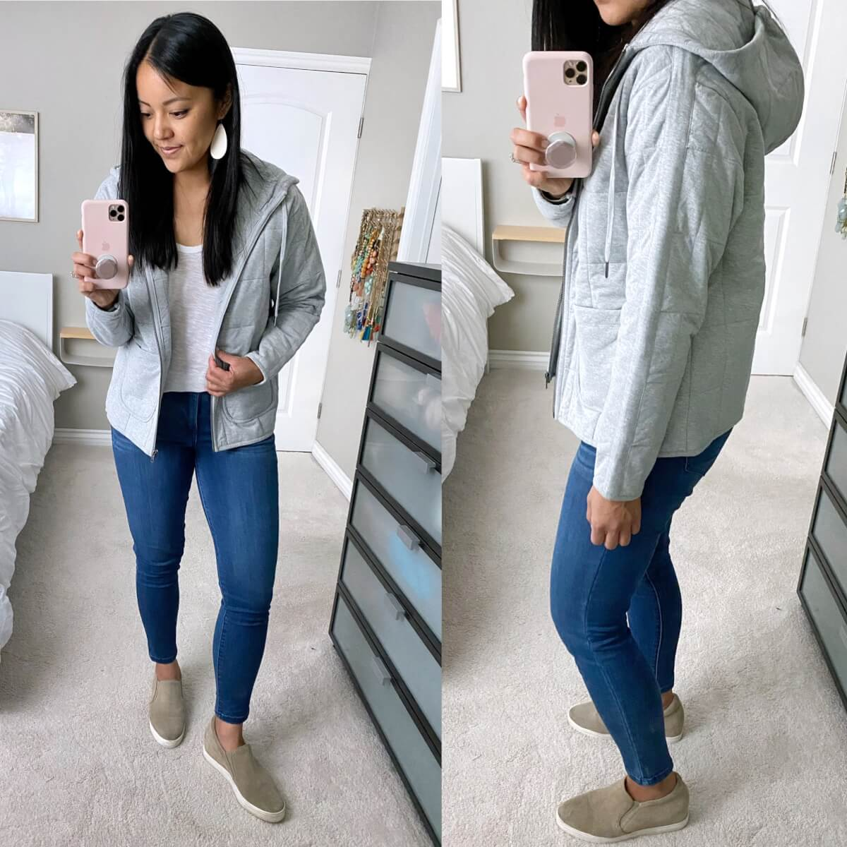 NSale Casual Outfit: white tee + blue skinny jeans + gray quilted zip-up hoodie jacket + nude slip-on sneakers + white earrings